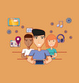 men and woman with smartphones network social vector image