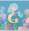 mermaid turtle octopus seahorse shrimp under the vector image vector image