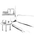 modern interior room sketch hand drawn sofa and vector image vector image