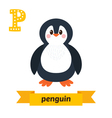 Penguin P letter Cute children animal alphabet in vector image vector image