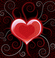 red glossy heart on background vector image vector image