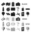 rest and travel black icons in set collection for vector image vector image