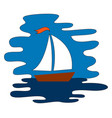 sailboat at sea on white background vector image vector image
