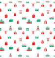 seamless gift pattern red and green gift vector image vector image