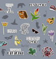 seamless pattern with traveling sticker set vector image