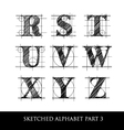 sketched diagram alphabet set 3 vector image vector image