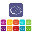 summer cloud icons set flat vector image vector image