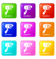 surveillance icons set 9 color collection vector image vector image