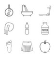 taking a bath icons set outline style vector image vector image