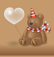 teddy bear with a ball sitting the background vector image vector image
