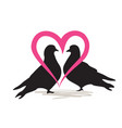 two birds doves isolated silhouette love heart vector image