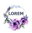 violet flowers watercolor wreath purple vector image vector image
