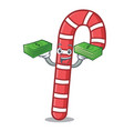 with money bag candy canes mascot cartoon vector image