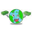 with money world globe character cartoon vector image