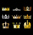 king crown icons vector image