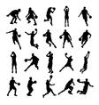 25 Basketball Black Silhouette vector image