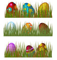 easter eggs in green grass spring colorful vector image