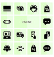 14 online icons vector image vector image