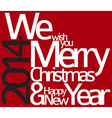 Abstract red typography Christmas card vector image vector image