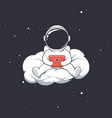astronaut writes message on cloud vector image