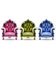 baroque colorful armchairs 3d vector image vector image