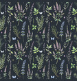 beautiful floral seamless pattern with hand vector image