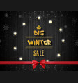 big winter sale background with lights vector image