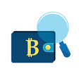 bitcoin symbon in the wallet with magnifying glass vector image vector image
