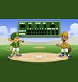 cartoon baseball games in stadium with bank vector image