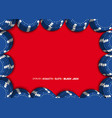 casino chips on a red background top view of blue vector image vector image