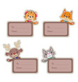 christmas present tags with cute happy animals vector image