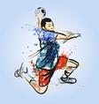 color line sketch of a handball player vector image vector image