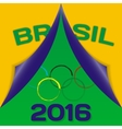Colors of flag Brazil and sign of Olympics with vector image
