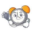 doctor alarm clock character cartoon vector image