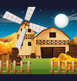 farm scene with barn and mill at night vector image vector image