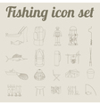 Fishing equipment icon set Outline version vector image