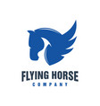 flying horse animal logo design vector image vector image