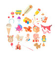 games for schoolchildren icons set cartoon style vector image