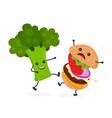 happy smile strong broccoli kick burger vector image