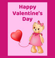 happy valentines day poster banner with cute teddy vector image vector image