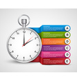 Infographics design template Clock with colored vector image vector image