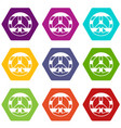 lgbt peace sign icon set color hexahedron vector image vector image