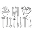 line art black and white 11 handyman tools set vector image