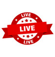 live ribbon live round red sign live vector image vector image