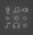 Music audio set icons draw effect vector image vector image
