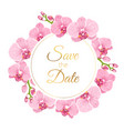 orchid phalaenopsis floral wreath wedding invite vector image vector image