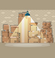 pile cardboard boxes set in warehouse vector image vector image