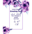 purple flowers watercolor card purple vector image vector image
