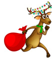 Reindeer running with red bag vector image vector image
