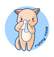 runny nose sick cute kitten of vector image